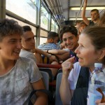 A lesson in Italian from school kids on the train to Pompeii